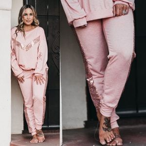 Pink sequin sweatpants bottoms lounge